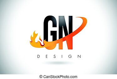 GN G N Letter Logo with Fire Flames Design and Orange...