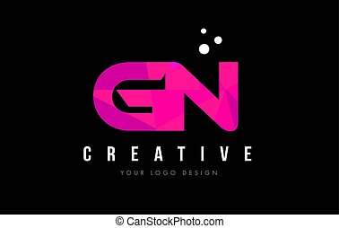 GN G N Letter Logo with Purple Low Poly Pink Triangles...