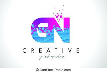 GN G N Letter Logo with Shattered Broken Blue Pink Texture...