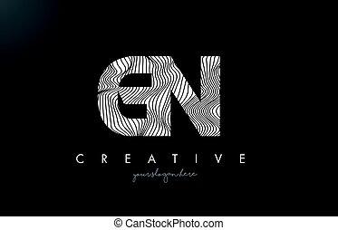 GN G N Letter Logo with Zebra Lines Texture Design Vector. -...