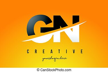 GN G N Letter Modern Logo Design with Yellow Background and...