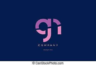 gn g n pink blue alphabet letter logo icon - gn g n pink...