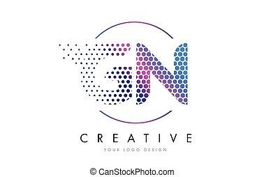 GN G N Pink Magenta Dotted Bubble Letter Logo Design Vector...