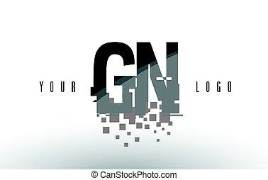 GN G N Pixel Letter Logo with Digital Shattered Black...