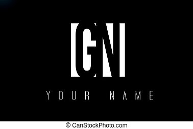 GN Letter Logo With Black and White Negative Space Design. -...