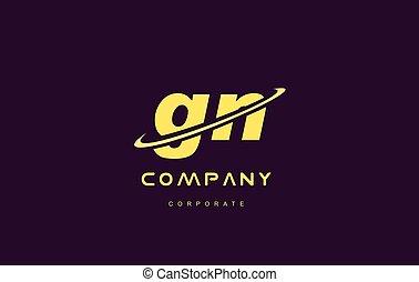 gn small alphabet yellow letter logo vector icon design - gn...