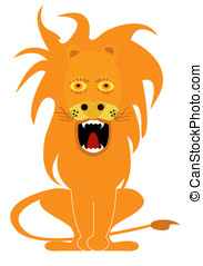 gnarling lion cartoon, vector