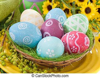 gniazdo, wielkanoc, tło, jaja, biały