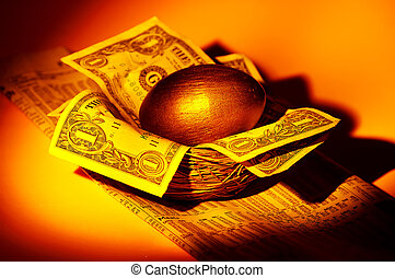 gniazdować jajko, złoty
