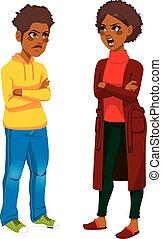 gniewny, afrykańska amerikanka, mamusia, syn
