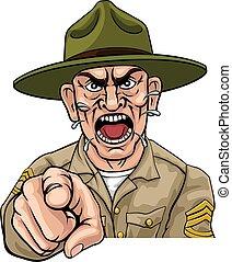 gniewny, dryl, bootcamp, armia, rysunek, sierżant