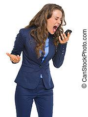 gniewny, handlowa kobieta, rozkrzyczany, w, komórka głoska