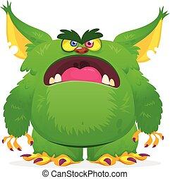 gniewny, illustration., rysunek, wektor, monster., halloween