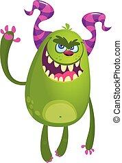 gniewny, ilustracja, monster., halloween, wektor, rysunek