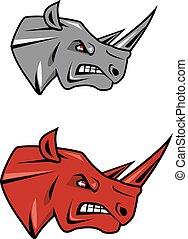 gniewny, nosorożec, projektować, głowa, maskotka