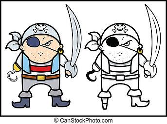 gniewny, pirat, kapitan, -, wektor