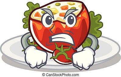 gniewny, pomidory, deska, wypchany, rysunek