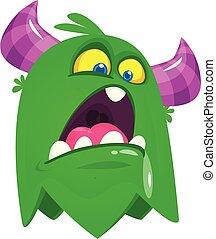 gniewny, potwór, rysunek, ilustracja, wektor, character.