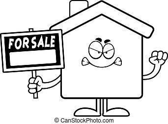 gniewny, rysunek, dom, sprzedaż