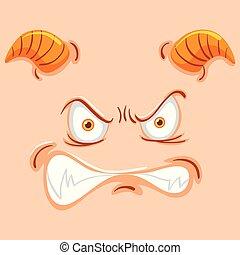 gniewny, twarz, potwór, róg