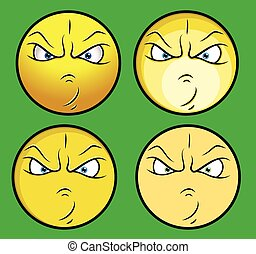 gniewny, wektor, komplet, twarze