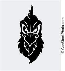 gniewny, wektor, litera, ptak, maskotka