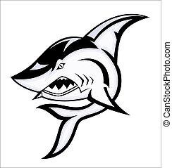gniewny, wektor, rekin, maskotka