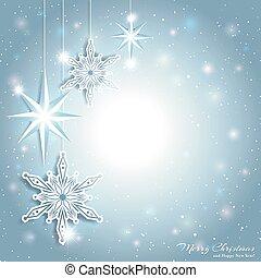 gnistr, stjerne, jul, baggrund, sneflage