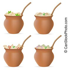 gnocchi, di, pasta, con, uno, ripieno, e, verdura, in, pentola creta, set, icone, vettore, illustrazione
