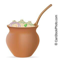gnocchi, khinkali, di, pasta, con, uno, ripieno, e, verdura, in, pentola creta, vettore, illustrazione