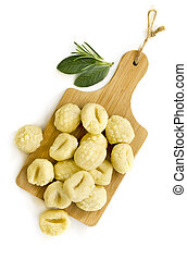 Gnocchi Top View Isolated with Herbs