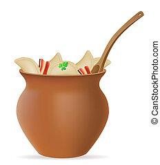 gnocchi, vareniki, di, pasta, con, uno, ripieno, e, verdura, in, pentola creta, illustrazione