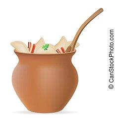 gnocchi, vareniki, di, pasta, con, uno, ripieno, e, verdura, in, pentola creta, vettore, illustrazione