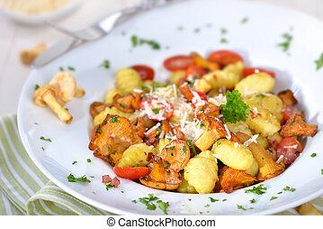 Gnocchi with mushrooms - Fresh Italian gnocchi with fried...