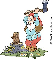 Illustration of elderly gnome chopping wood on the glade