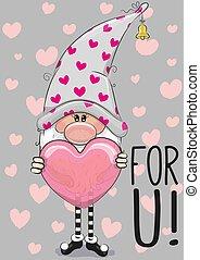 gnome, dessin animé, coeur, mignon