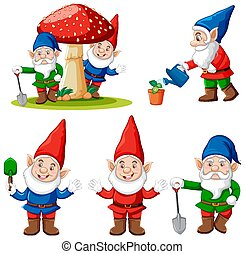 gnome, dessin animé, fond, blanc, ensemble, jardin, caractère