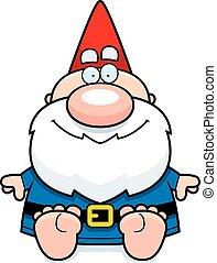 gnome, dessin animé, séance