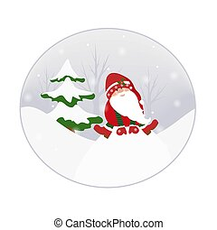 Gnome elf cartoon character in winter forest snowy landscape. Xmas tree snowflakes. New Year Christmas card template design element.