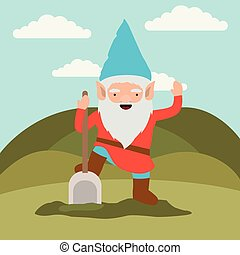 gnome fantastic character with shovel in mountain landscape background