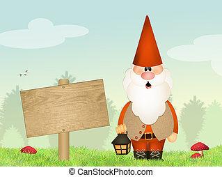 gnome garden - illustration of gnome garden