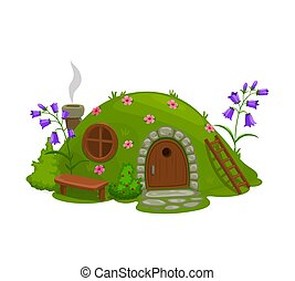 Dwarf or gnome house, fairytale dugout hut cartoon vector. Fairy or magic creature home in hill, covered grass and flowers hole, shack with wooden door, round window and bench on grass