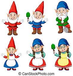 gnome, isolé, style, groupe, dessin animé, fond blanc, jardinier, déguisement