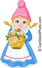 gnome, jardin, panier