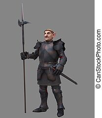 Gnome Knight - Fantasy gnome character in medieval armour...