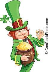 Gnome leprechaun. Fairy-tale character for Saint Patricks Day