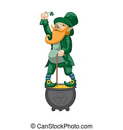 Gnome leprechaun. Fairy-tale character for Saint Patricks Day. Rich dwarf man with pot of gold coins. Vector illustration. Isolated white background