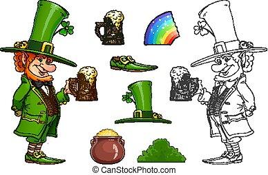 Gnome leprechaun with mug of beer. Fairy-tale irish character.