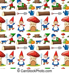 gnome, maison, style, dessin animé, seamless, citrouille