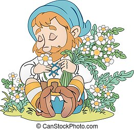 Gnome on the glade - Happy gnome with bouquet of flowers on...